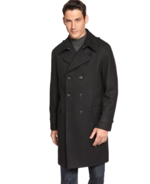 Alfani Red Overcoat, Black Double Breasted Slim Fit