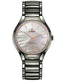 Rado Men's Swiss Automatic True Diamond (1/4 ct. t.w.) Plasma High-Tech Ceramic Bracelet Watch 40mm