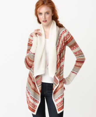 Kensie Sweater, Long Sleeve Fair Isle Draped Open Front Cardigan