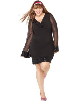 Ruby Rox Plus Size Dress, Long Sleeve Sequined Cowlneck