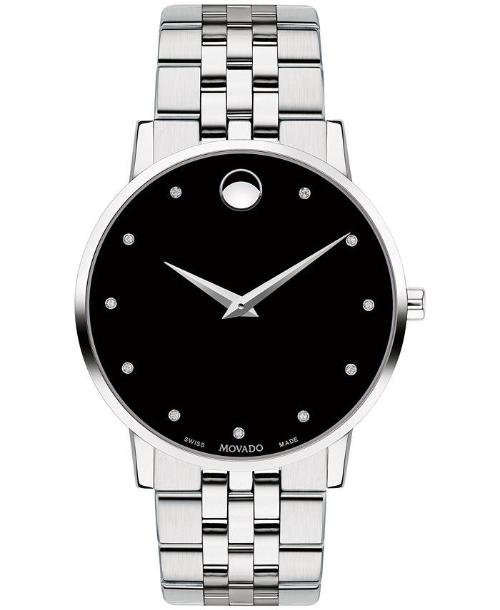 Movado - Men's Swiss Museum Classic Diamond-Accent Stainless Steel Bracelet Watch 40mm