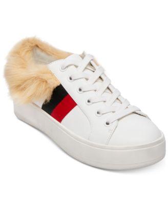 Belle Faux-Fur Lace-Up Sneakers