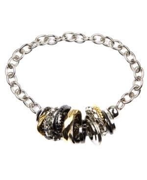 Nine West Bracelet, Tri Tone Disc Charm Bracelet