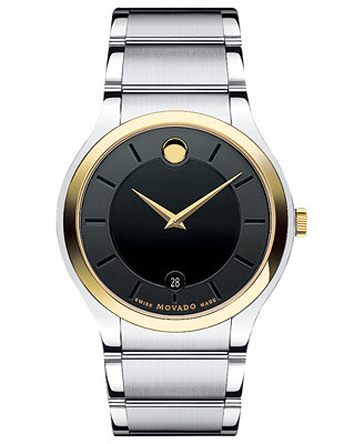 movado s swiss quadro two tone stainless steel