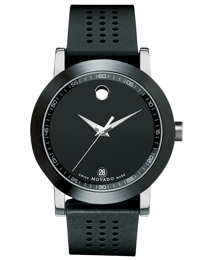 Movado - Men's Swiss Museum Sport Black Perforated Rubber Strap Watch 42mm 0606507