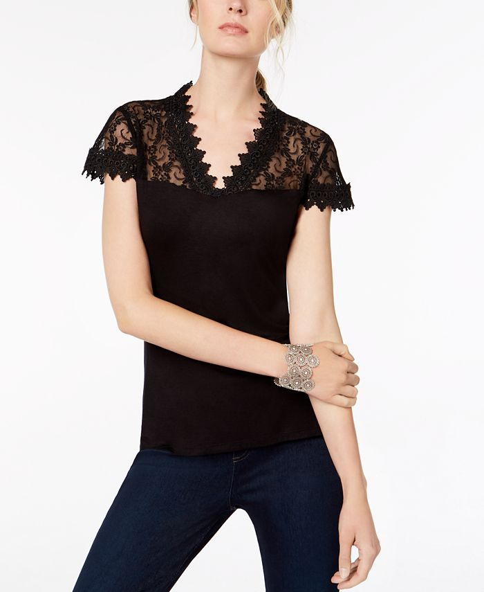 INC International Concepts - Lace-Trim Top, Only at Macy's
