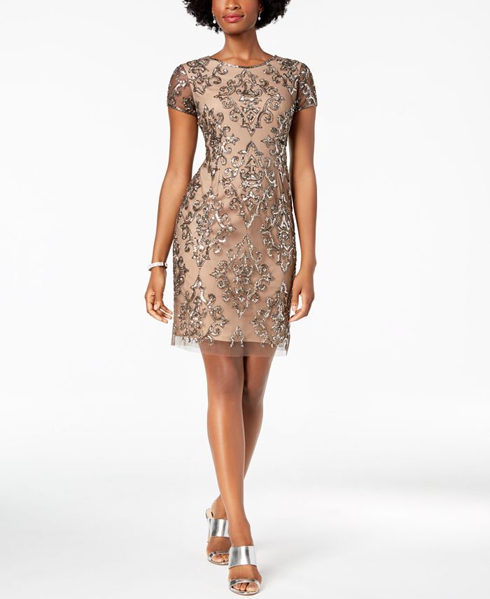 Adrianna Papell - Damask Sequined Mesh Dress