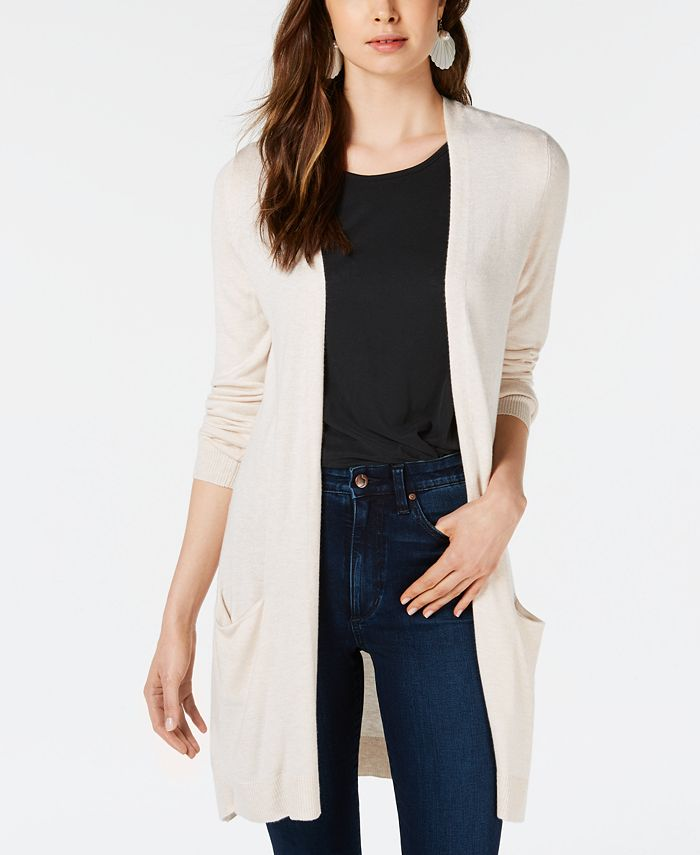 Maison Jules - Long Open-Front Jersey Cardigan, Created for Macy's