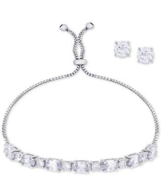 Clear Cubic Zirconia Slider Bracelet & Cubic Zirconia Stud Earrings Set in Fine Silver-Plate, April Birthstone