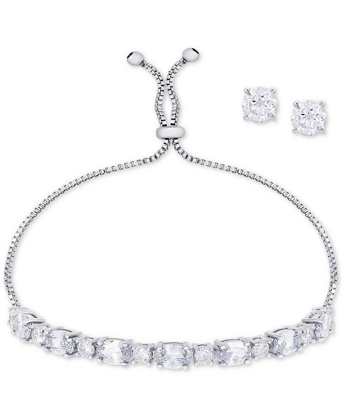 Macy's - 2-Pc. Set Cubic Zirconia Slider Bracelet & Stud Earrings in Fine Silver-Plate