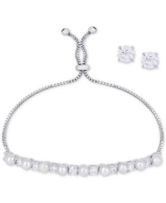Imitation Pearl Slider Bracelet & Cubic Zirconia Stud Earrings Set In Fine Silver-Plate, June Birthstone