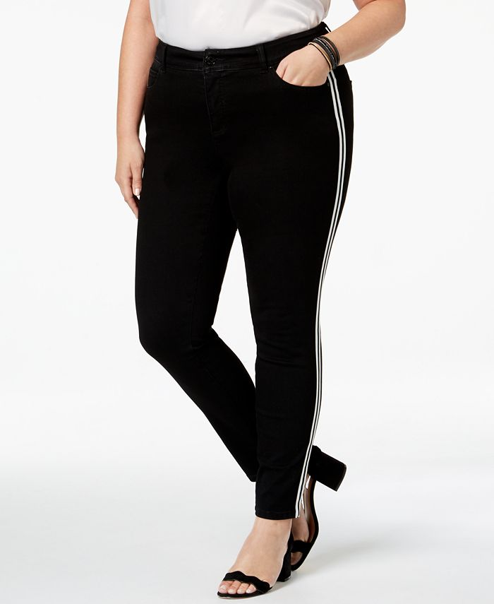 INC International Concepts - Plus Size Racing-Stripe Skinny Jeans