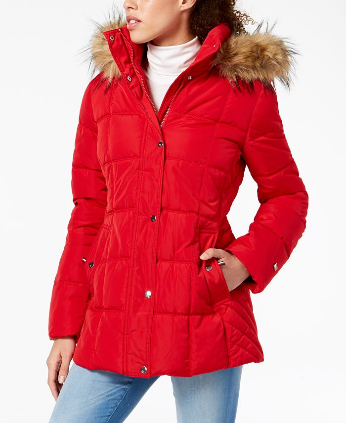 Tommy Hilfiger Petite Faux Fur Trim Hooded Puffer Coat Created For Macy S Reviews Coats Petites Macy S