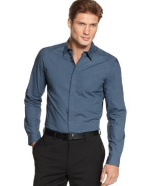 Calvin Klein Shirt, BODY Slim Fit Mixed Media Shirt