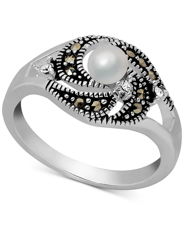 Macy's - Freshwater Pearl (4mm), Marcasite & Crystal Ring in Fine Silver-Plate