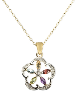 Victoria Townsend 18k Gold over Sterling Silver Necklace, Multistone and Diamond Accent Flower Pendant
