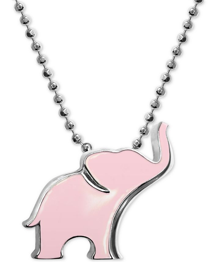 "Alex Woo - Pink Enamel Elephant 16"" Pendant Necklace in Sterling Silver"