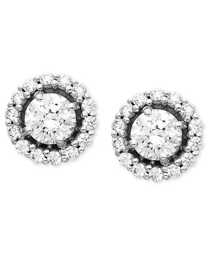 Arabella - 14k White Gold Earrings, Swarovski Zirconia Round Pave Stud Earrings (2-7/8 ct. t.w.)