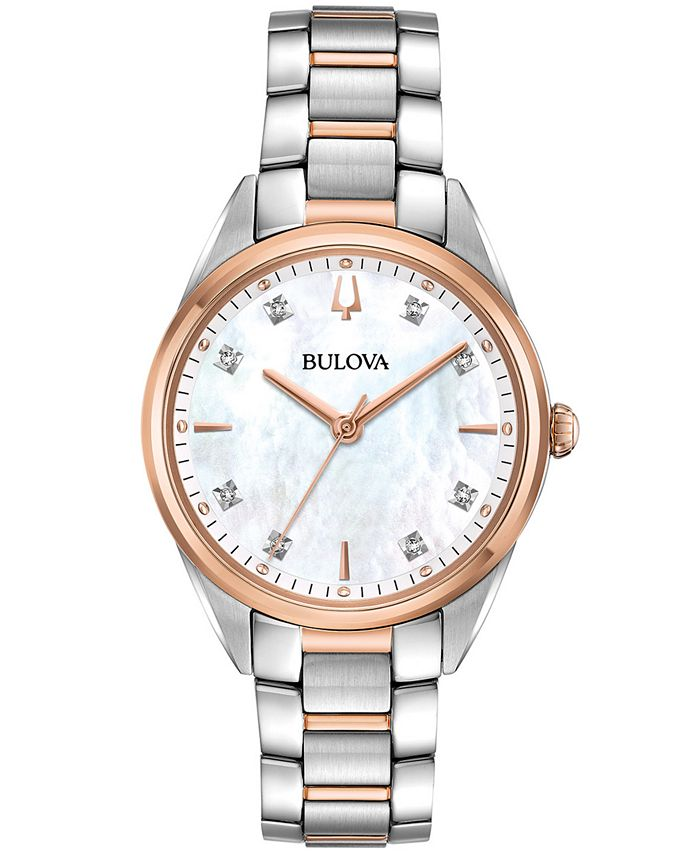 Bulova - Women's Sutton Diamond-Accent Two-Tone Stainless Steel Bracelet Watch 32.5mm