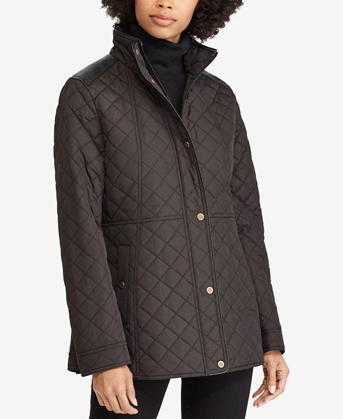 Lauren Ralph Lauren - Petite Faux-Leather-Trim Quilted Coat