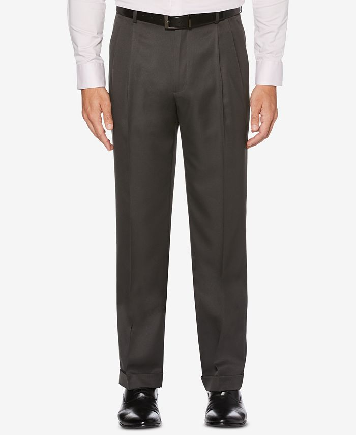Perry Ellis Portfolio - Men's Portfolio Classic/Regular Fit Elastic Waist Double Pleated Cuffed Dress Pants