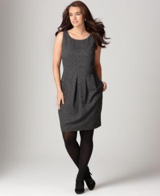 DKNYC Plus Size Dress, Sleeveless Pleated