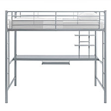 Premium Metal Full Size Loft Bed with Wood Workstation - Silver