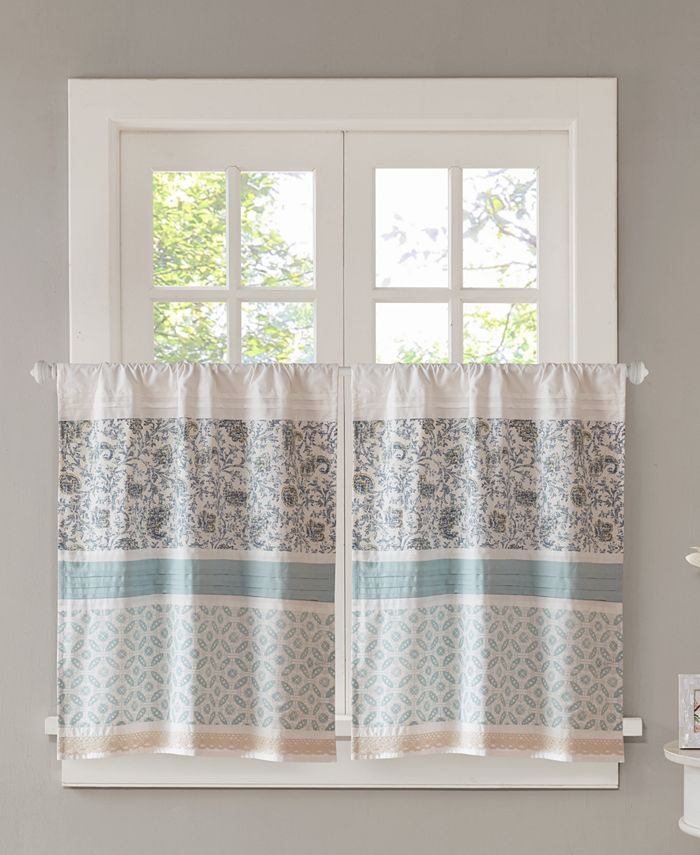 """Madison Park - Dawn Cotton 60"""" x 36"""" Printed and Pieced Rod Pocket Kitchen Tiers"""