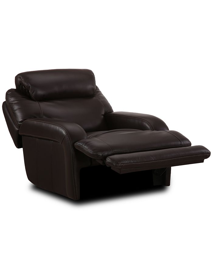 Furniture - Daventry Leather Power Recliner with Power Headrest & USB Power Outlet