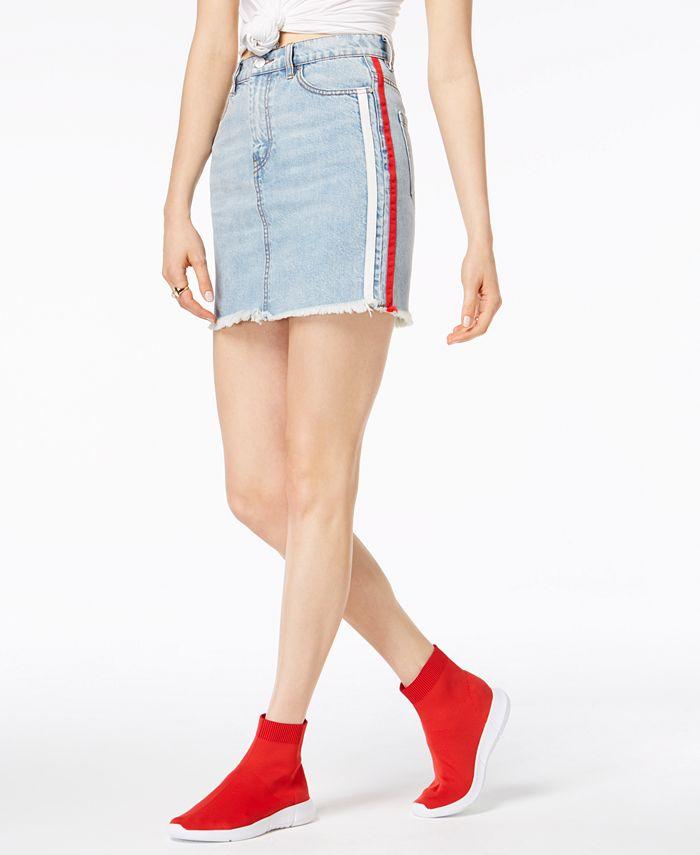 Kendall + Kylie - Cotton Side-Stripe Denim Skirt