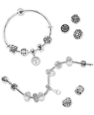 Cubic Zirconia Family Tree Charm Bangle Bracelet Gift Set in Sterling Silver