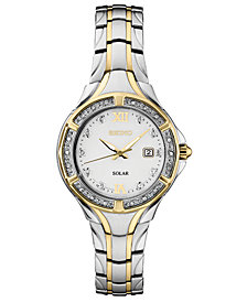 Seiko Women's Solar Diamond Collection Diamond-Accent Two-Tone Stainless Steel Bracelet Watch 29mm