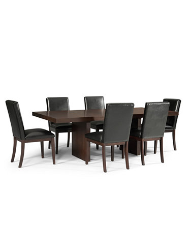 Corso Dining Room Furniture 9 Piece Set Table And 8 Black Chairs Furnitu