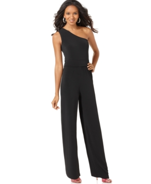 NY Collection Jumpsuit, Sleeveless One Shoulder Wide Leg