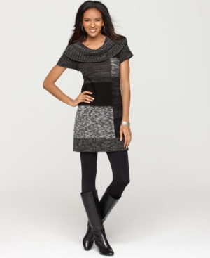 Style&co. Dress, Short Sleeve Cowl Neck Colorblock Sweater