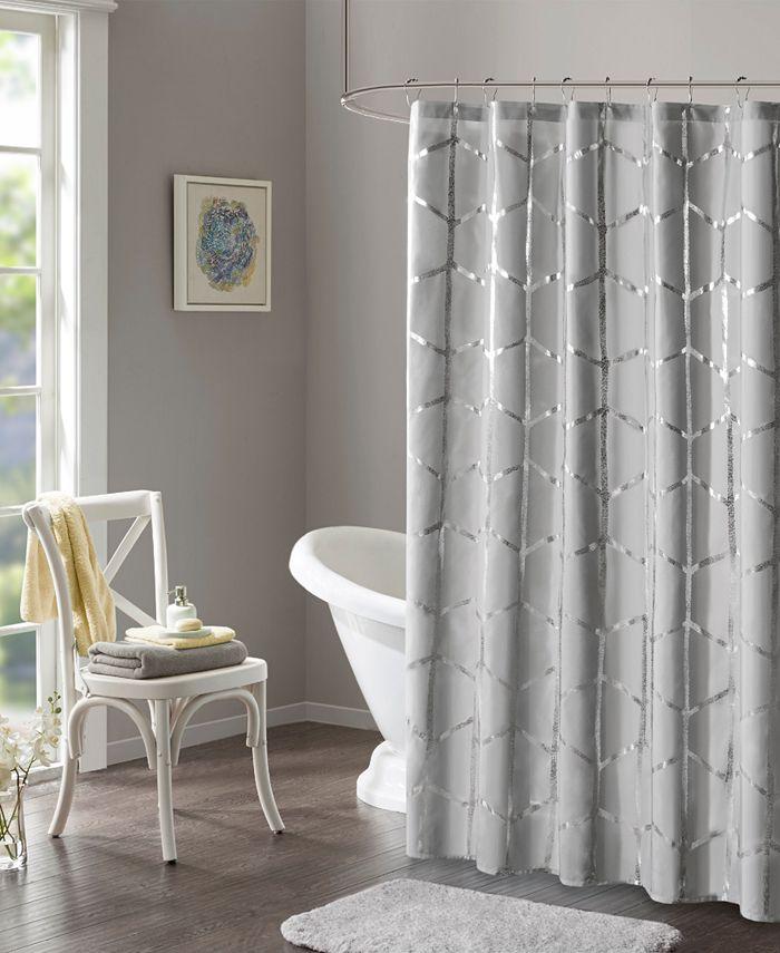 "Intelligent Design - Raina 72"" x 72"" Printed Metallic Shower Curtain"