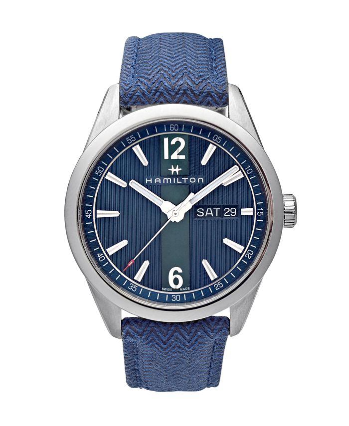 Hamilton - Men's Swiss Broadway Blue Fabric Strap Watch 40mm