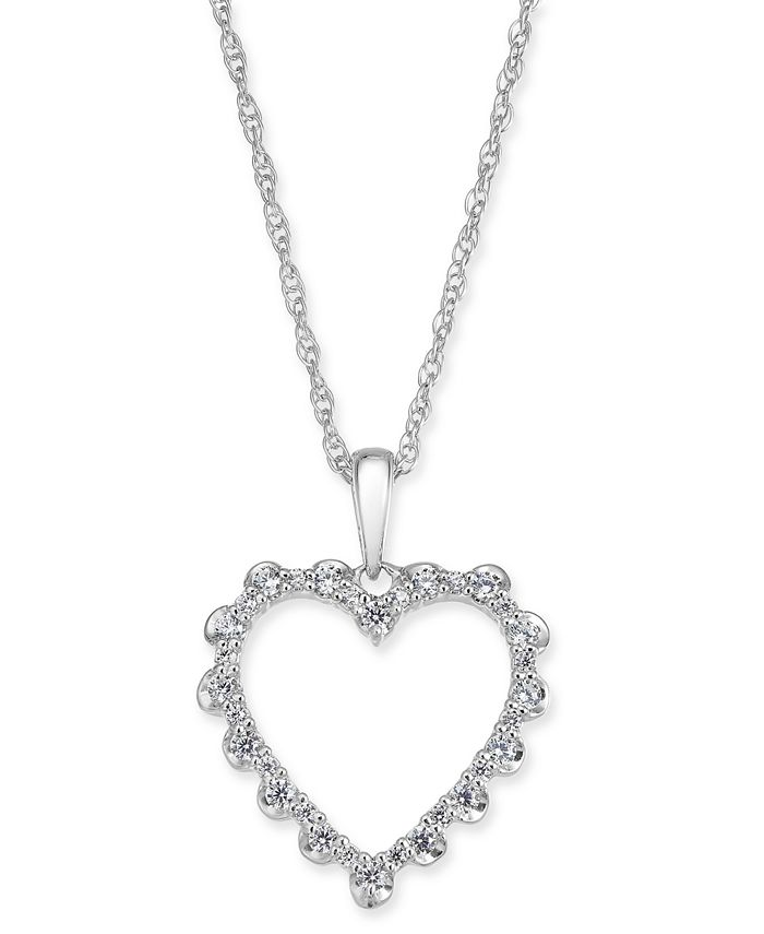 "Macy's - Diamond Heart 18"" Pendant Necklace (1/4 ct. t.w.) in 14k White Gold"