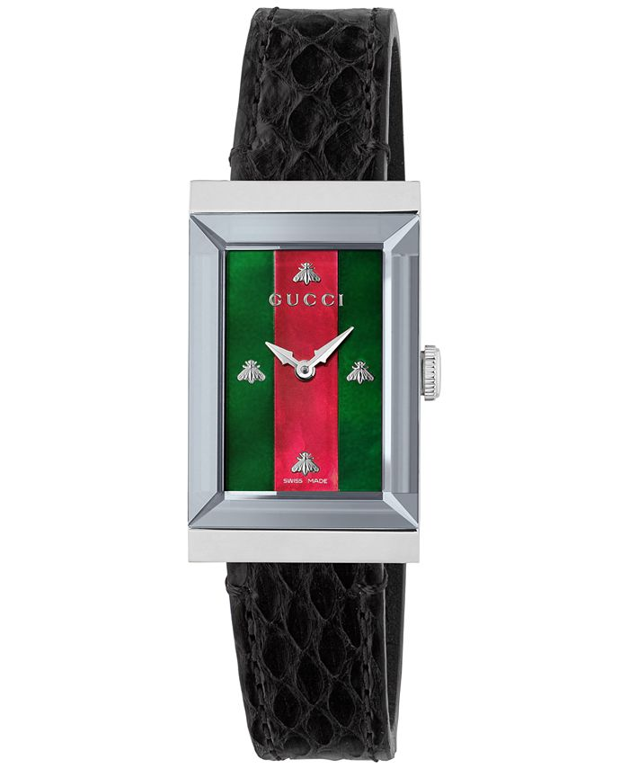 Gucci - Women's Swiss G-Frame Black Ayers Leather Strap Watch 21x40mm