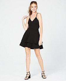B Darlin Juniors' Lace-Back Fit & Flare Dress