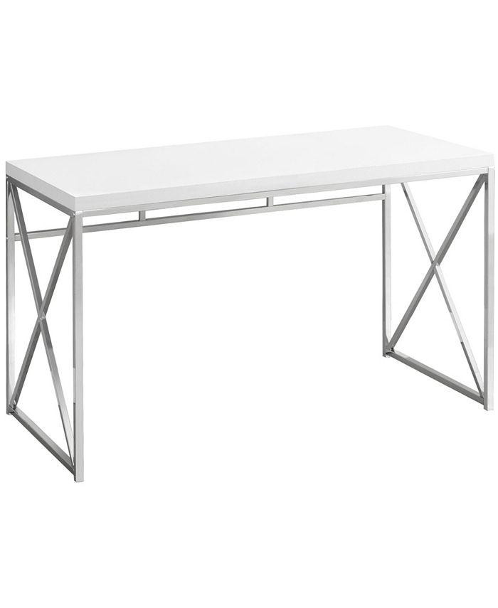 "Monarch Specialties - Computer Desk - 48""L Glossy White Chrome Metal"