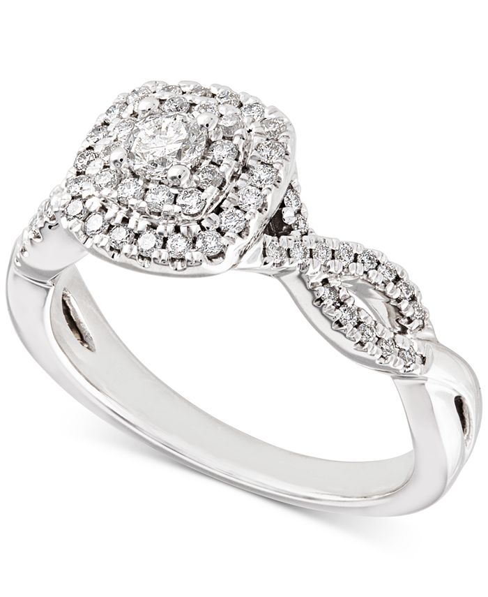 Macy's - Diamond Double Halo Braided Engagement Ring (1/2 ct. t.w.) in 14k White Gold