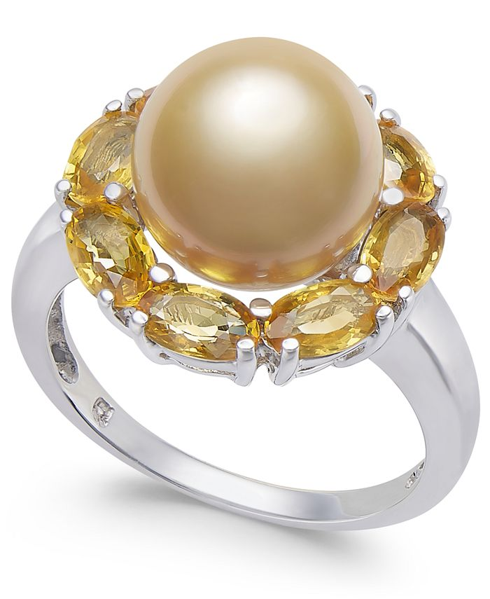 Macy's - Cultured Golden South Sea Pearl (10mm) & Yellow Sapphire (3-1/5 ct. t.w.) Ring in Sterling Silver
