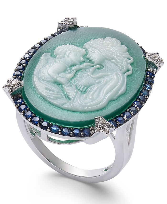 Macy's - Green Agate, Sapphire (1/2 ct. t.w.) & Diamond Accent Mother & Child Cameo Ring in Sterling Silver
