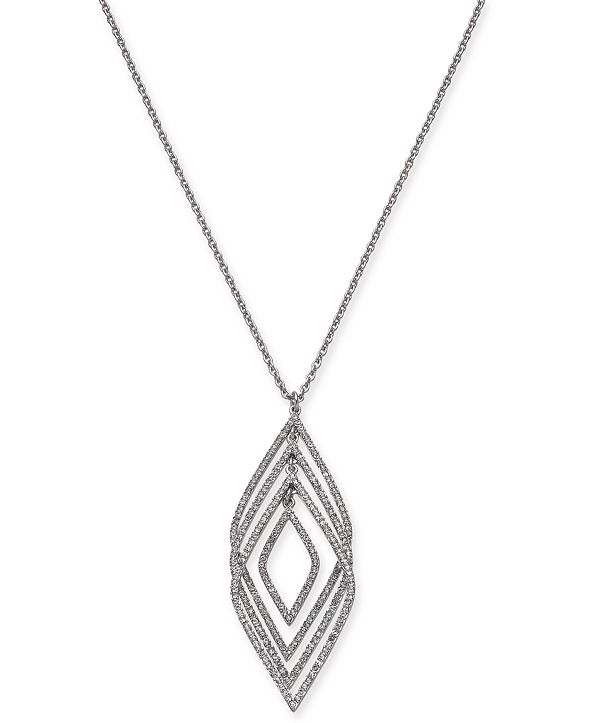 """INC International Concepts INC Silver-Tone Pavé Multi-Layer Pendant Necklace, 30"""" + 3"""" extender, Created for Macy's"""
