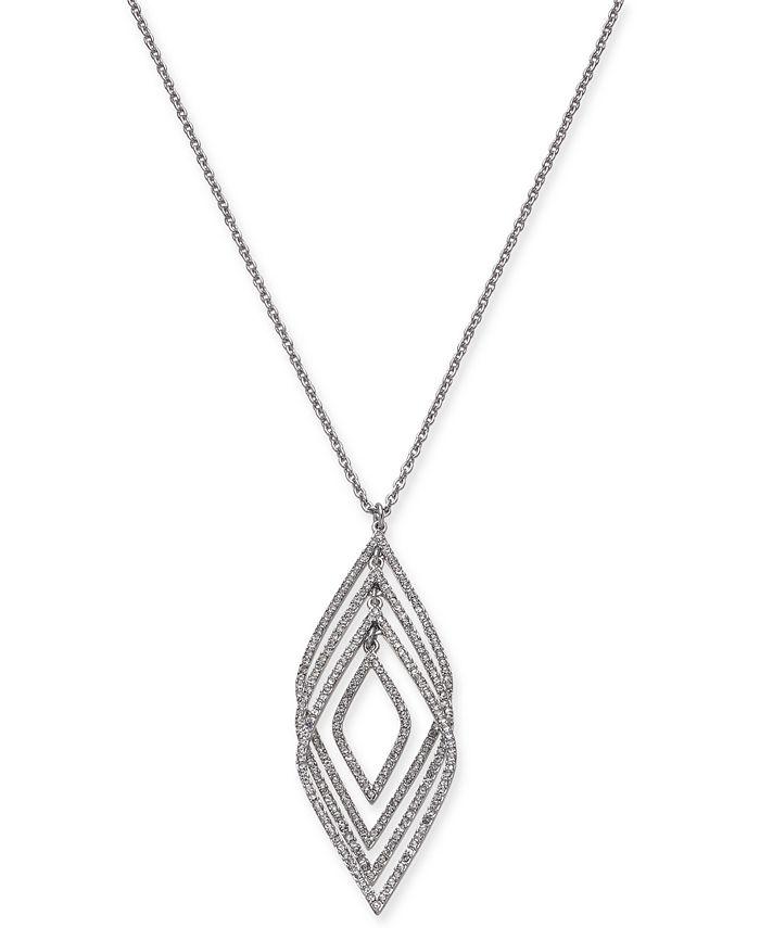"INC International Concepts - Silver-Tone Pavé Multi-Layer Pendant Necklace, 30"" + 3"" extender"