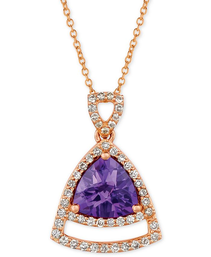 "Le Vian - Grape Amethyst (1-5/8 ct. t.w.) & Vanilla Diamond (1/3 ct. t.w.) 18"" Pendant Necklace in 14k Rose Gold"