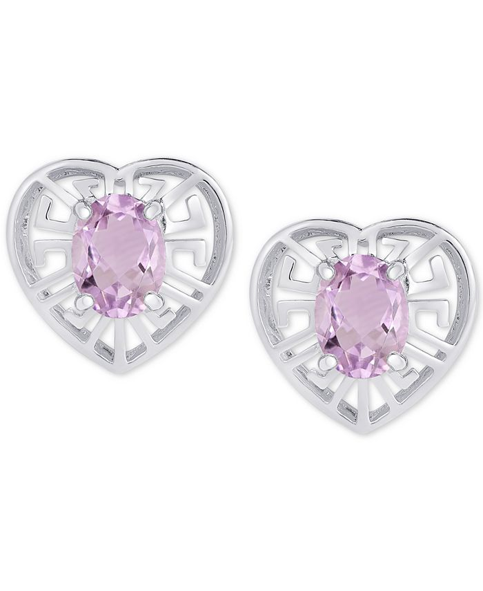 Macy's - Amethyst Greek Key Heart Stud Earrings (1-5/8 ct. t.w.) in Sterling Silver