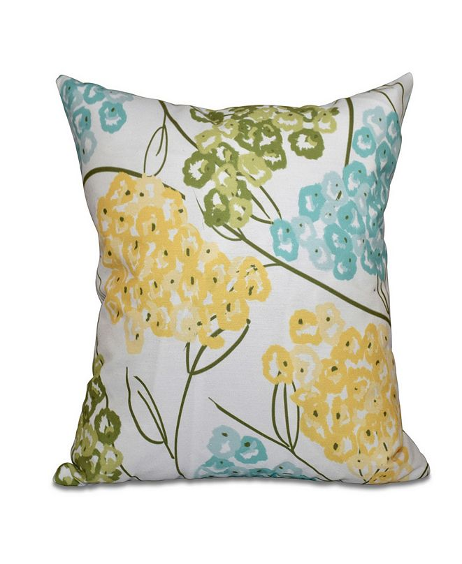 E by Design Hydrangeas 16 Inch Yellow and Aqua Decorative Floral Throw Pillow