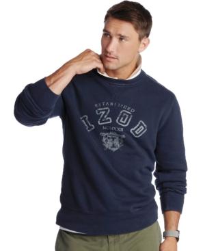 Izod Sweatshirt, Varsity Fleece Printed Crew